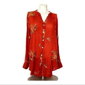 Anthro Fig & Flower Embroidered Rust Orange Top L